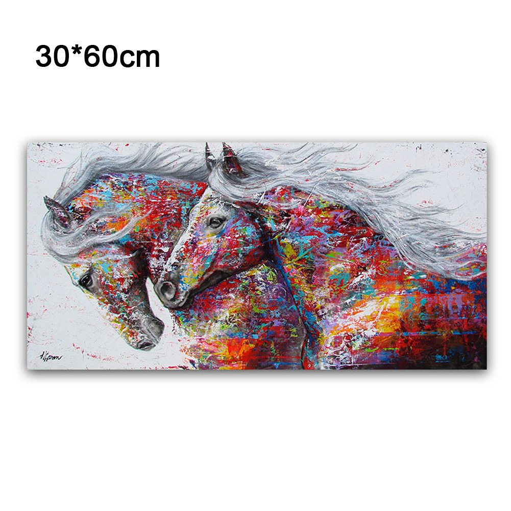 EMVANV Oil Painting Poster Prints on Canvas Nature Modern Running Horse Pattern Printing Matt Large Colorful Wall Picture Art Print Images (30cm x 60cm)
