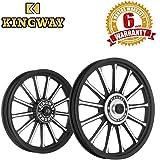 Speedwav Kingway SR3B 13 Spokes Bike Alloy Wheel Set of 2 19/18 Inch Black CNC-Royal Enfield Classic 350