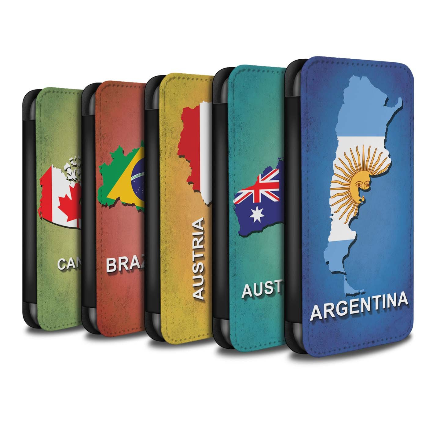 STUFF4 PU Leather Wallet Flip Case/Cover for Apple iPhone X/10 / Pack 28pcs Design / Flag Nations Collection