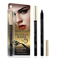 Swiss Beauty 24 Hours Bold and Black Smudge Proof Non Transfer Opthalmologically Tested Kajal, Jet Black, 1.2g