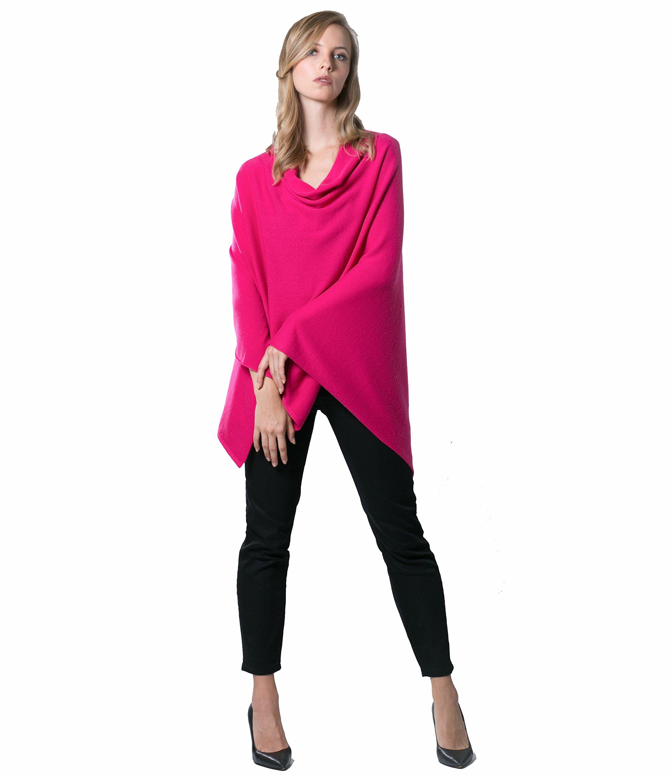 Super Soft Oversized 100% Cashmere Travel Blanket Scarf Wrap - Dragon Fruit Pink by Anna Kristine