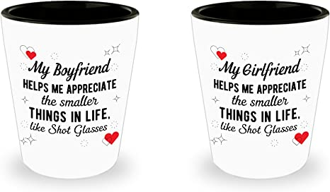 Amazon Com Matching Shot Glasses Set For Boyfriend Girlfriend Funny Gift Valentines Day Gift For Boyfriend Couples Gifts Anniversary Present Christmas Birthday Gifts Ideas For Him For Her Shot Glasses