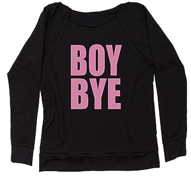 75ca74e3 Amazon.com: Expression Tees Boy Bye Pink Lemonade Off Shoulder Sweatshirt:  Clothing
