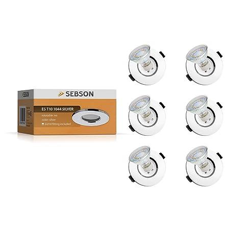 SEBSON Einbaustrahler 6er Set Badezimmer, Feuchtraum, Bad / Aluminium, Alu,  Chrom /