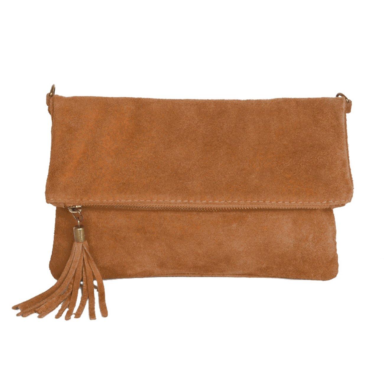 Leder Clutch kleine Ledertasche Wildleder Umhängetasche Abendtasche klein Partytasche Handtasche Lederhandtasche (Bordeaux Rot) 24-010916