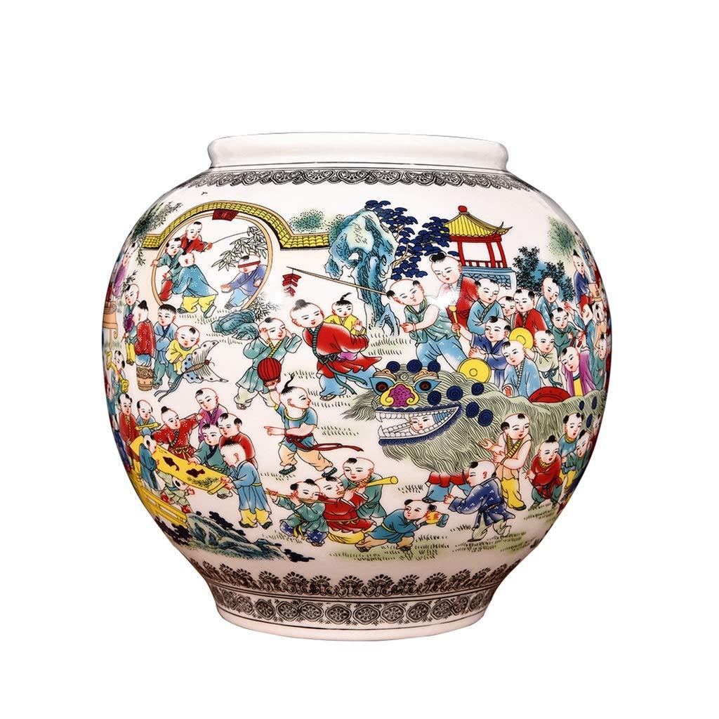 セラミックスアンティーク百写真大花瓶中国の古典的なリビングルームの家の装飾の装飾品結婚祝いの衣装 LQX B07RGXZBQ9