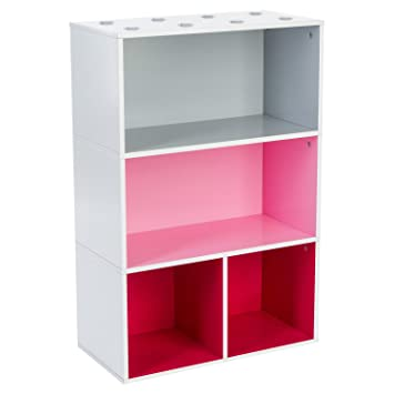 meuble cube tageres pour enfant gris rose et rouge