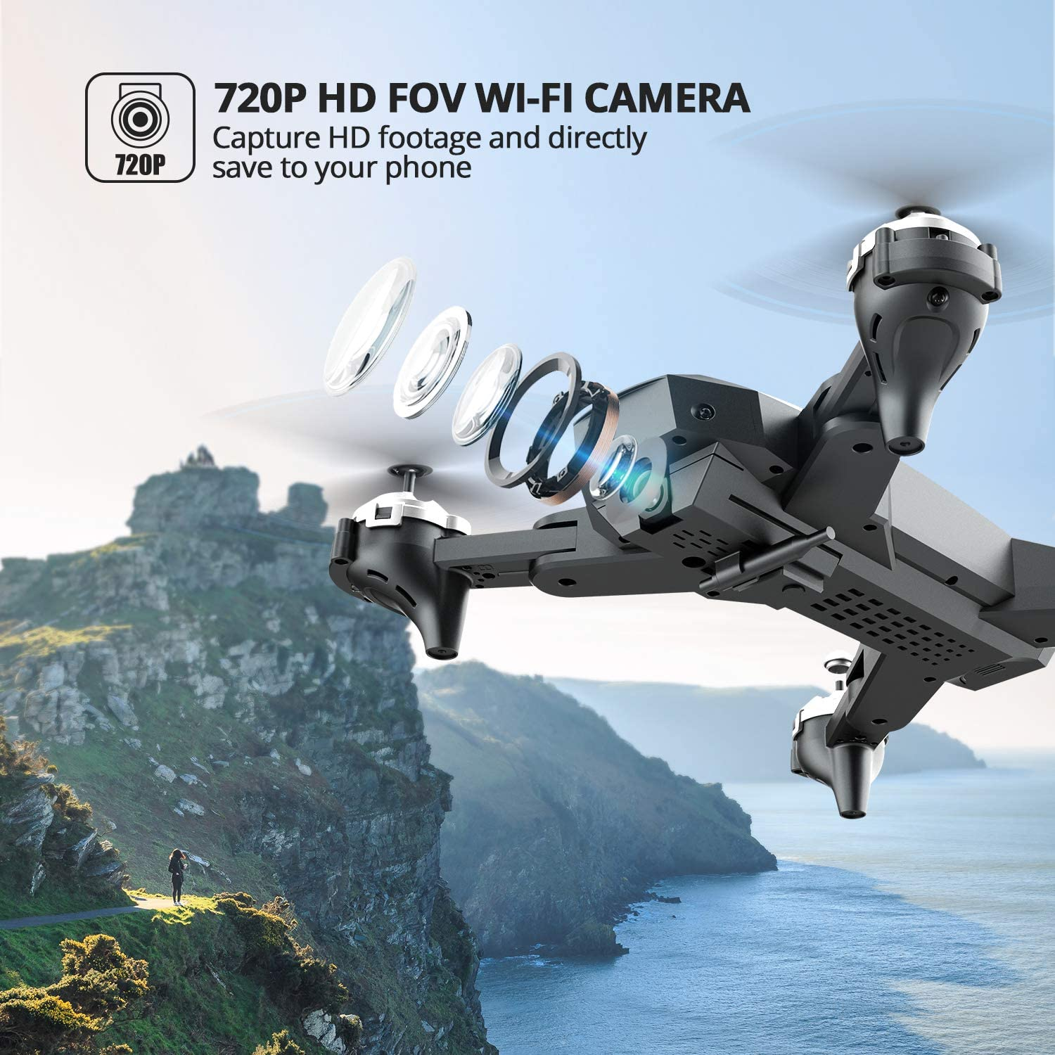 3D Flips Functions and 24mins Long Flight DEERC Drone with Camera 720P HD WiFi FPV for Kids and Adults Foldable RC Qudcopter with Altitude Hold Headless Mode Waypoint Fly App Control