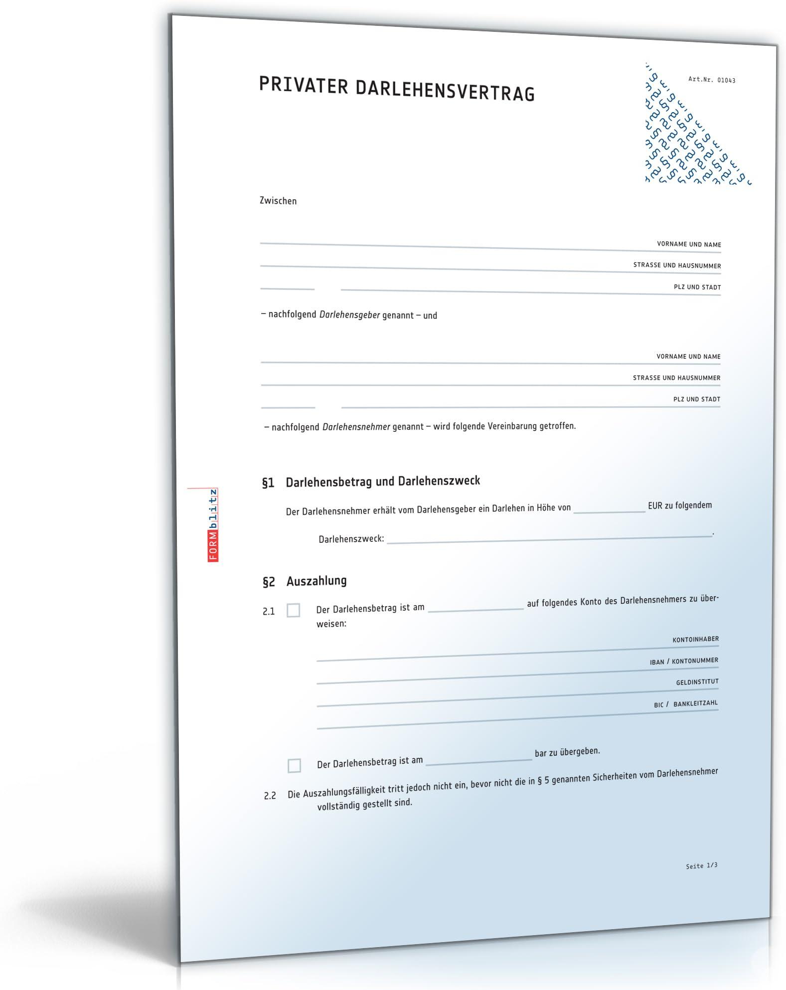 Geschaftlicher Darlehensvertrag Muster Zum Download 0