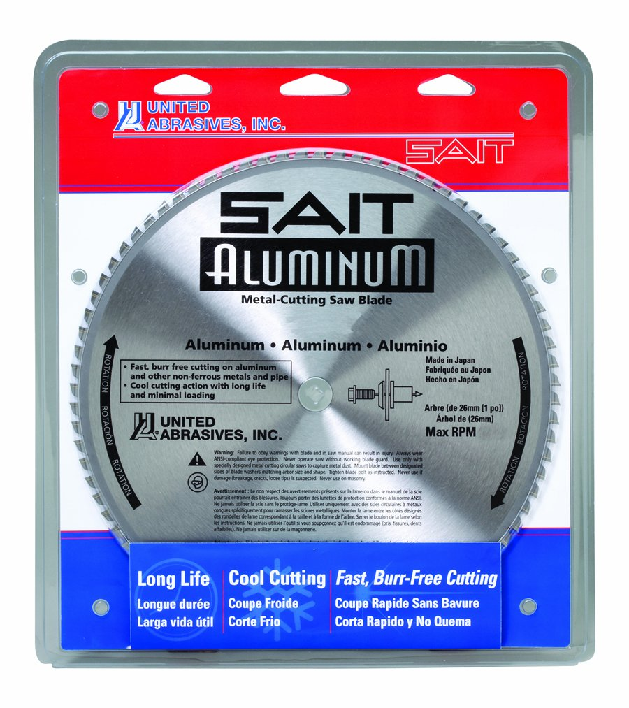 Sait 77966 Metal Cutting Blade, Aluminum, 12-Inch by 1-Inch, 80-Teeth, 1-Pack