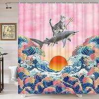 Divertida cortina de ducha con diseño de tiburón de gato, divertido juego de cortina de ducha con diseño de gato que…