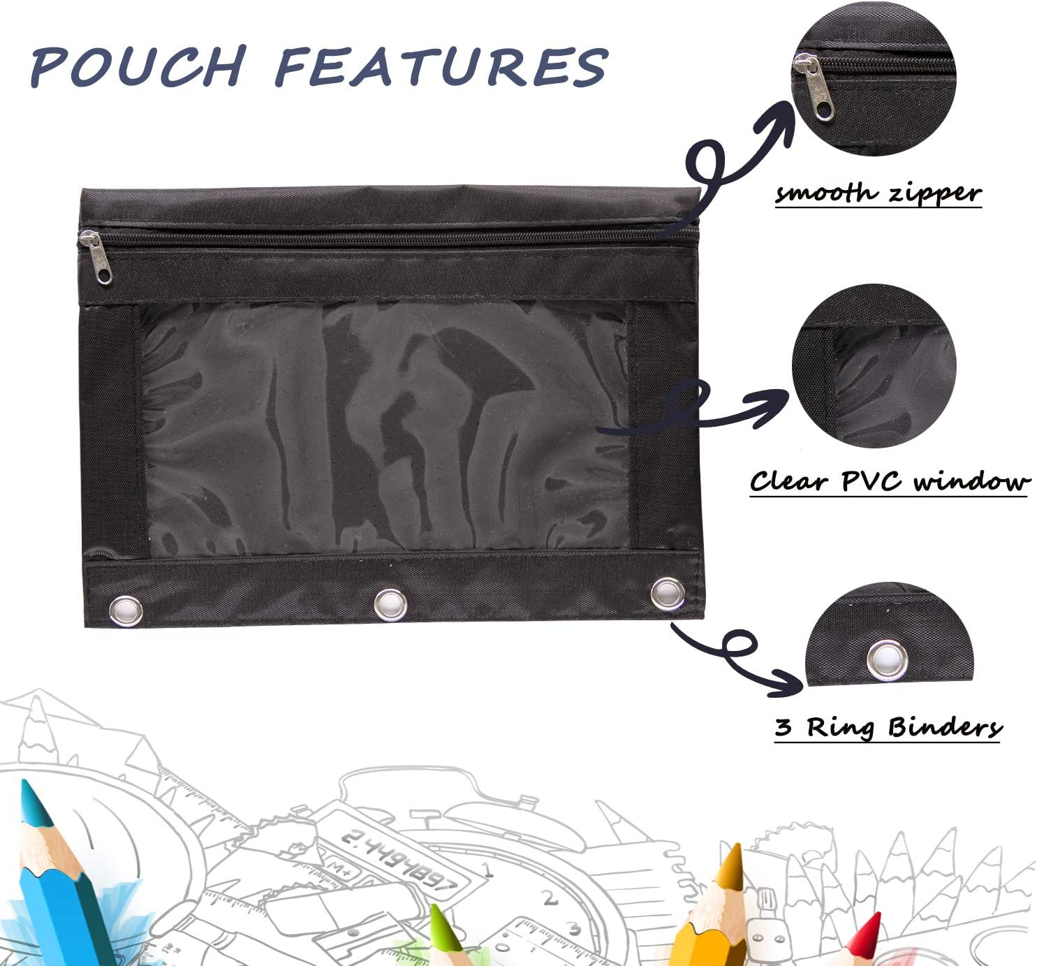 2 Packs Black 6 Pcs Plastic Binder Pen Pouch Makeup Brush Tools Receipts Storage Bag 3 Ring Clear Pencil Pouch with Zipper
