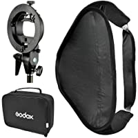 Godox SEUV8080 80 X 80 cm Folding Soft Box + S Type S-EC Flash Speedlite Holder for Elinchrom Berg + Bag Portable Multifunctional (Black)