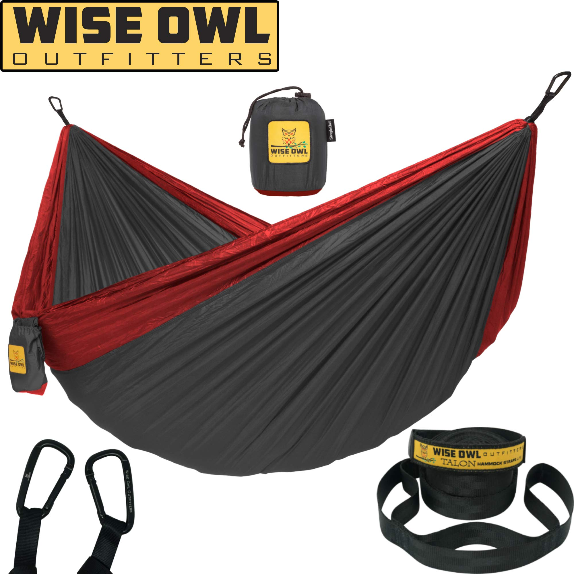 Wise Owl Outfitters Hammock Camping Double & Single with Tree Straps - USA Based Hammocks Brand Gear, Indoor Outdoor Backpacking Survival & Travel, Portable SO Ch/Red