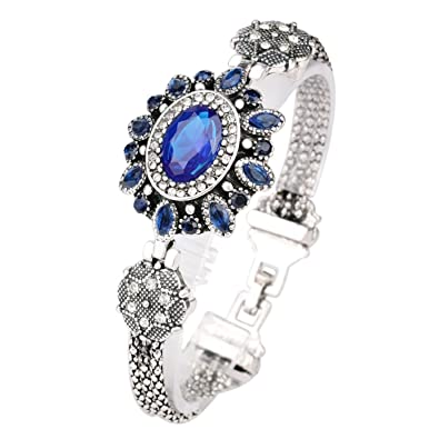 Buy Krinps Hub Beautiful and Elegant Turkish Style Retro Silver Plated  Bracelet with Crystal   Sapphire Resin Jewelry for Women - Blue   Silver  Color Online ... 3223136efb