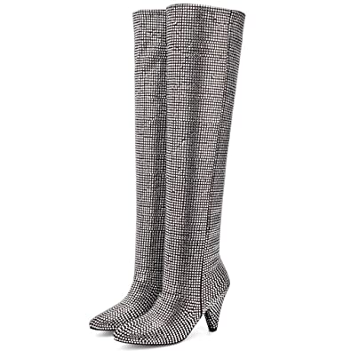 f9fb9f63e968 Image Unavailable. Image not available for. Color  Women s Over The Knee  Boots Bling Bling Thigh High Stretch Boots Pointy Toe ...