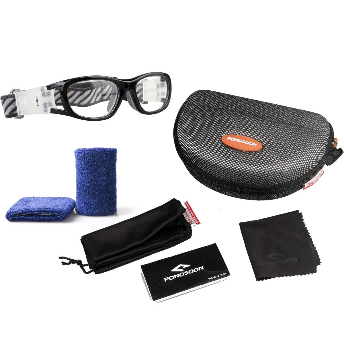 35e9e7f2c0f Amazon.com   PONOSOON Sports Goggles Glasses for Kids for Basketball  Football Volleyball 1812(Black)   Sports   Outdoors