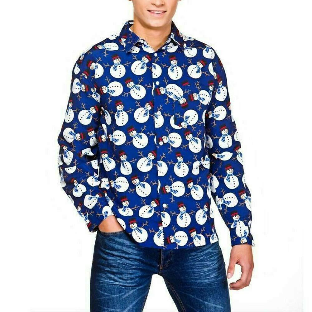 Mens Christmas Clothes Button Down Casual Shirts Deer Snowman Santa Claus Long Sleeve Dress Shirts