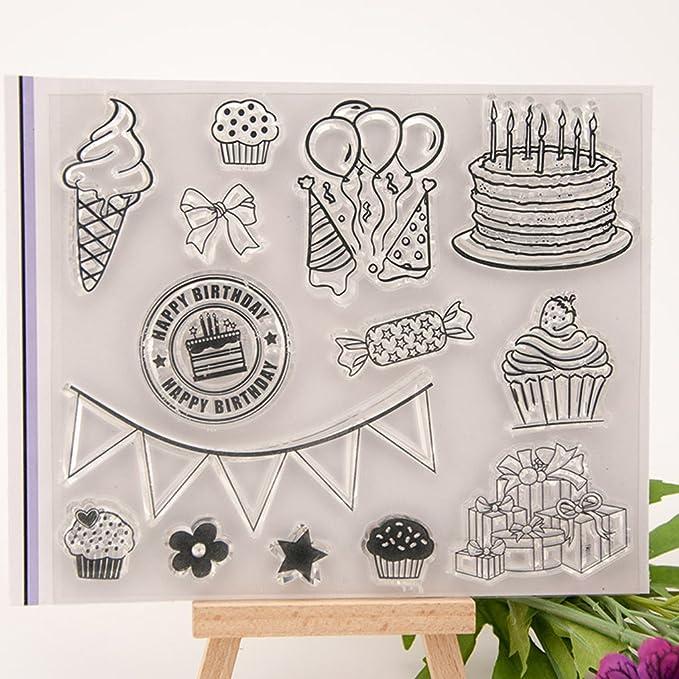 Hoja de sellos de silicona transparente Scrapbooking Estampado en relieve Transparente Sello adhesivo para DIY Álbum de fotos Papel Tarjeta de cuaderno Fabricación Feliz cumpleaños y pastel 1#: Amazon.es: Hogar