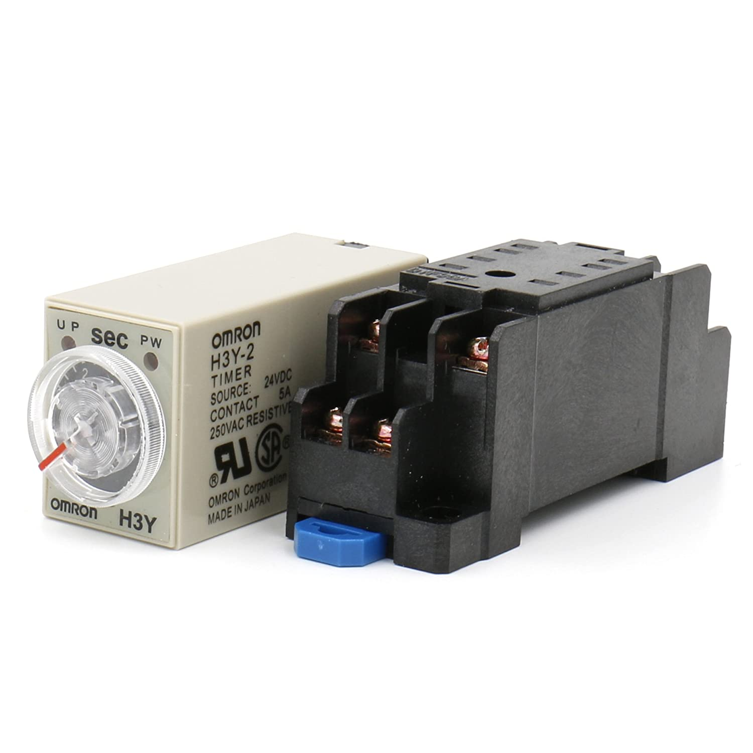 Heschen Timer Delay Relay H3Y-2 24VDC 0-60 Seconds 250VAC 5A 8Pin terminal DPDT with DYF08 35mm DIN Rail Socket Base Heschen Electric Co.Ltd H3Y-2-24V-60S
