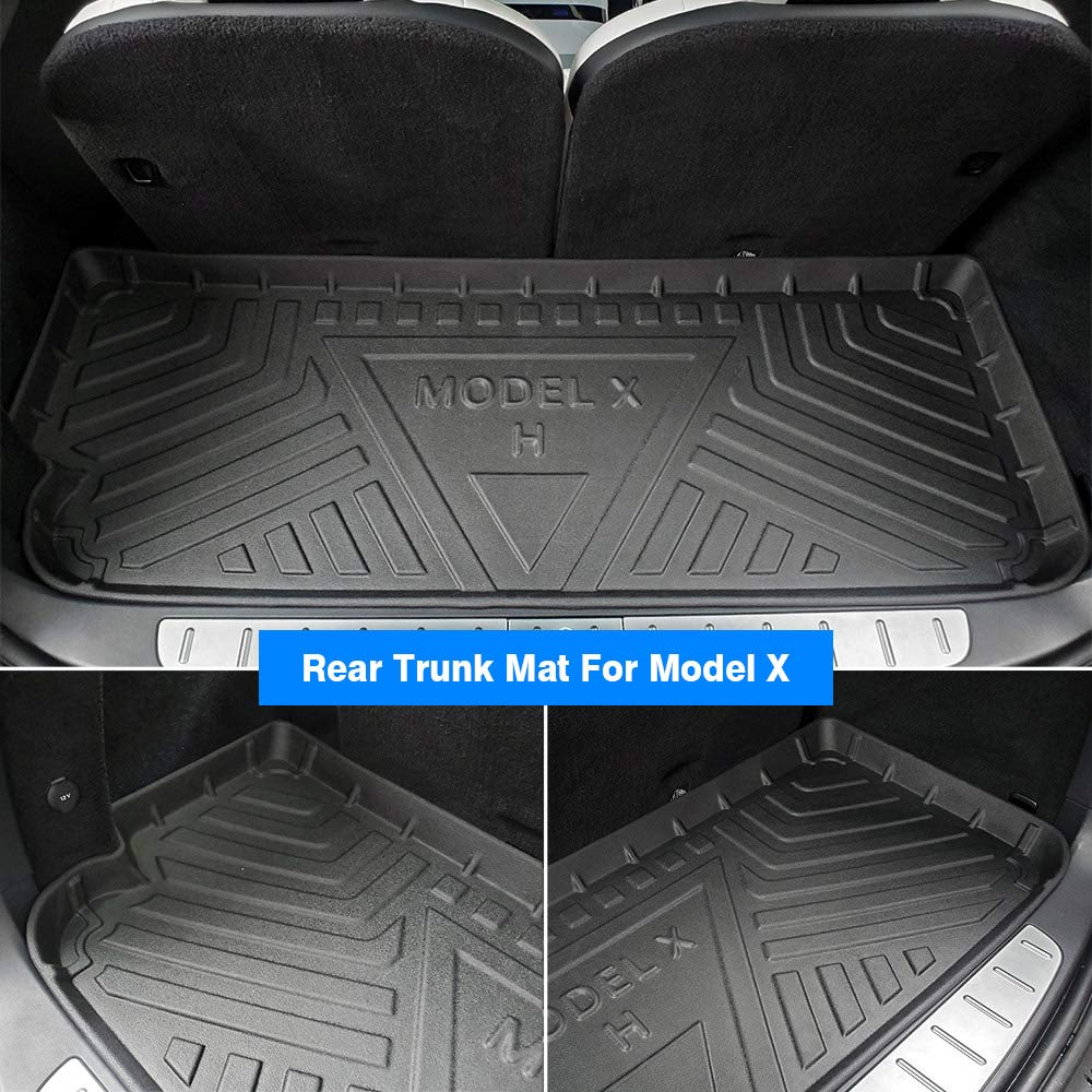6 or 7 Seater Mixsuper Front Trunk Mat and Rear Trunk Mat Compatible with Tesla Model X All Weather TPO Rear Cargo Liner Durable and Odorless