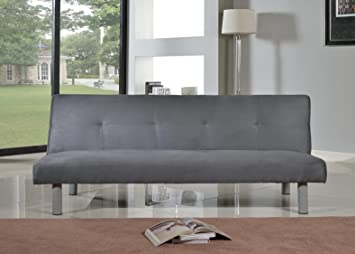 Attrayant Comfy Living Faux Suede 3 Seater Quality Sofa Bed   Click Clac Fabric  Sofabed In GREY