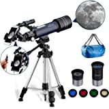 MAXLAPTER Telescope for Astronomy for Kids Beginners Adults, Dual-Use Refractor with 43 inch Tripod Smartphone Adapter Case,
