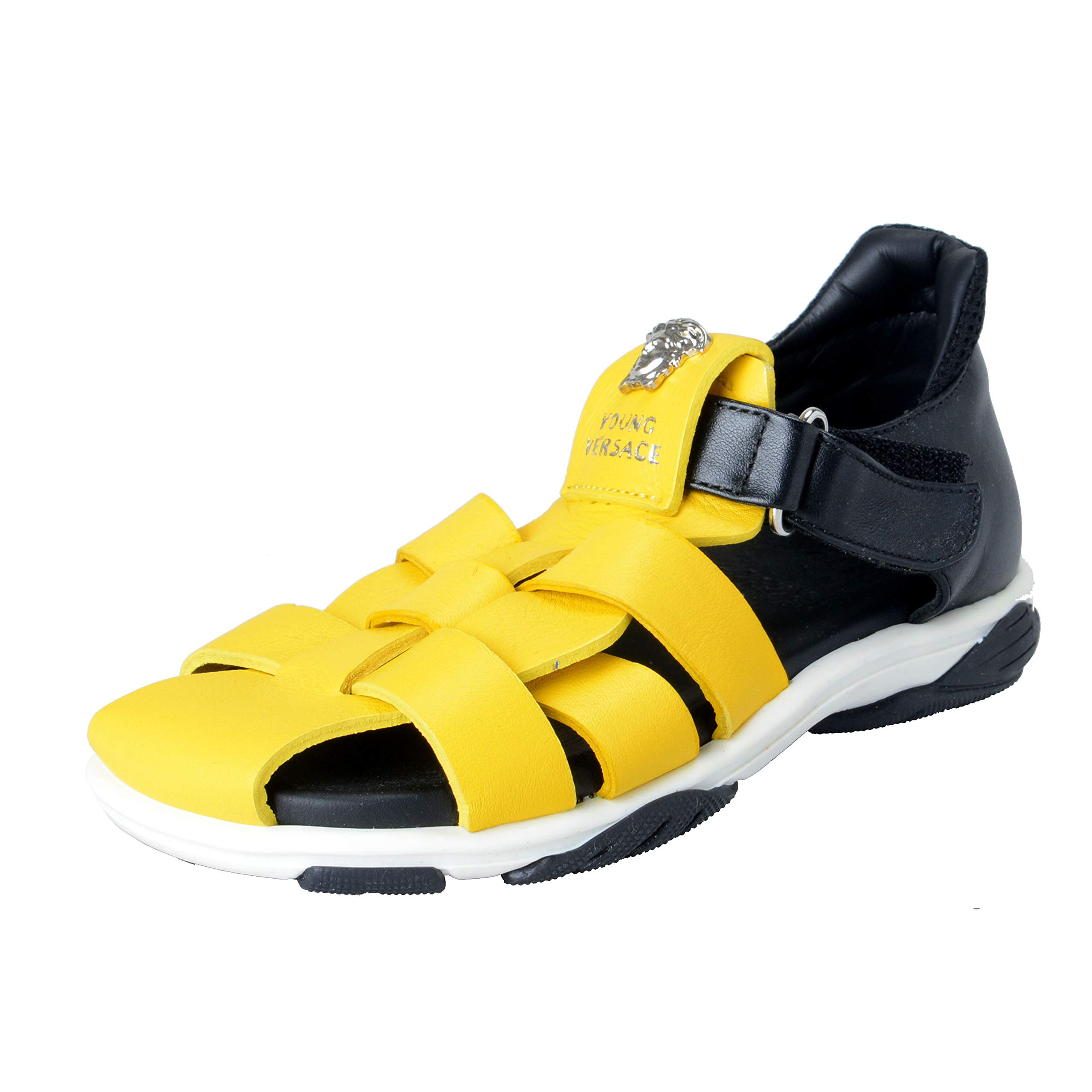 Versace Young Kid's Leather Medusa Sandals Shoes Sz 30 Yellow/Black