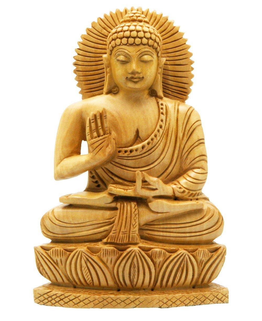 Amazon Buddha Groove Hand Carved Wood Sitting Buddha Statue