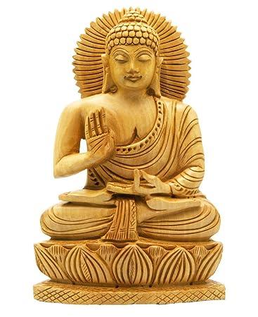 amazon com buddha groove hand carved wood sitting buddha statue