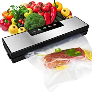 Sandoo Vacuum Sealer Machine, Automatic Food Sealer for Food Savers w/Starter Kit, Dry Moist Food Modes, Portable Heat Sealer with Led Indicator Lights, Easy to Clean, Compact Design (Silver) HA0110