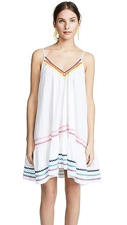 e2df9554eed 9seed Women S St Tropez Ruffle Mini Er Up White Rainbow Trim One