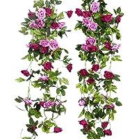 JUSTOYOU Artificial Rose Garland Hanging