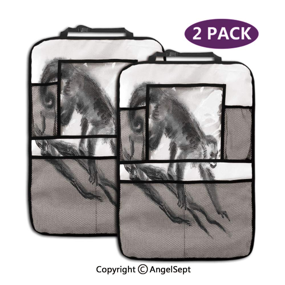 Kick Mats Car Back Seat Protector,Sketchy Style Monkey on Branch Exotic Creature in Jungle Hand Drawn Dimgrey,19.3x27.2inch,Storage Pockets for Toys Book Bottle Drinks(2 Pack) by RWNFA