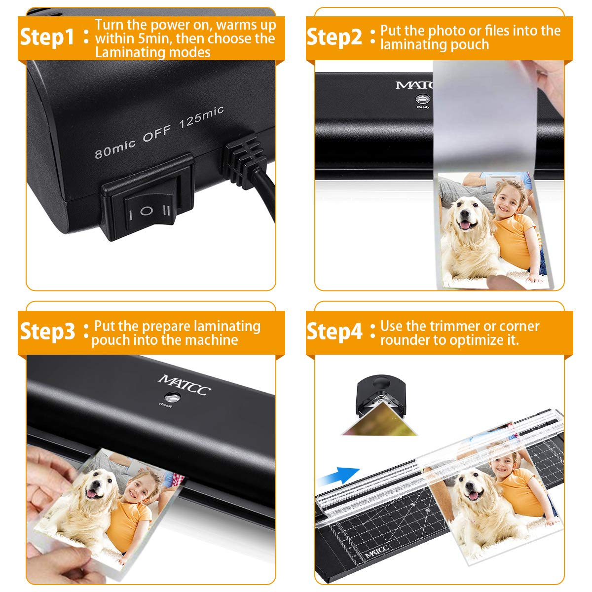 MATCC 13'' Thermal Laminator Machine for A3/A4/A6 Laminating Machine with Paper Cutter and Corner Rounder 2 Roller System Laminator Machine Faster Warm-up Quick Laminating Speed Suit for Home Art by MATCC (Image #5)