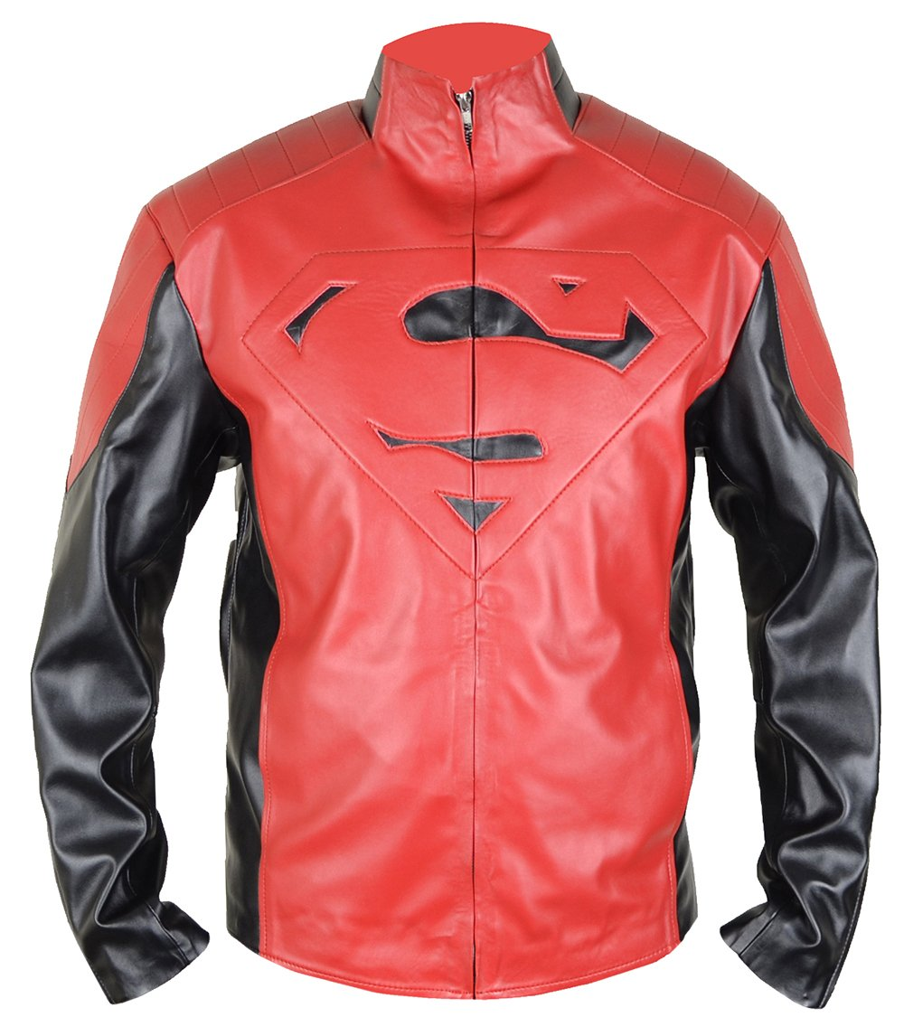 MSHC Black Superman V1 Jacket Fitted Smallville Leather Jacket Black & Red (Medium)