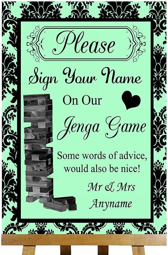 Libro de visitas Jenga verde endotelina personaliseitonline tarjeta impresa boda cartel Provincial Small A5: Amazon.es: Oficina y papelería