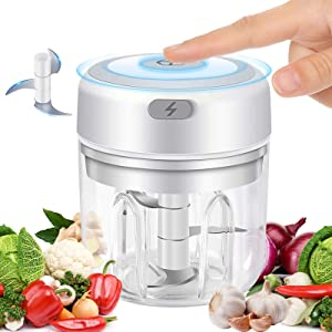 Electric Garlic Chopper,Mini Food Processor with Improved Blade & Glass Bowl for Garlic Chopper Mincer Blender Mixer for Baby Food,Chili Vegetable Nuts Meat (250ml/ 8.4oz)