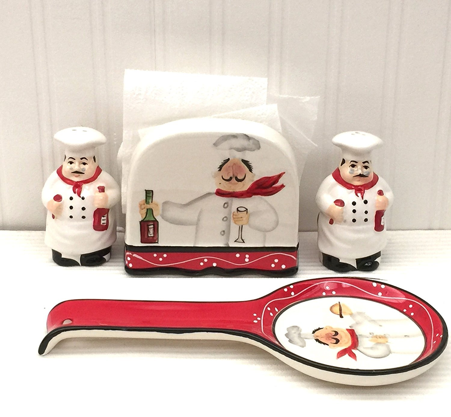 Tuscany Colorful Plump Bistro Chef Hand Painted Stove Top Set of 4, 89125/28 by ACK