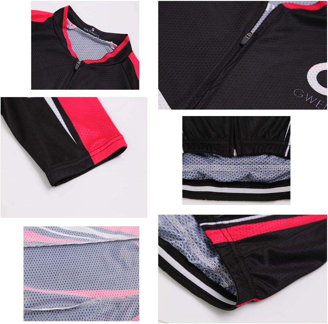 composto da maglietta a maniche corte e pantaloncini con fondello completo da ciclismo da donna GWELL con motivo geometrico