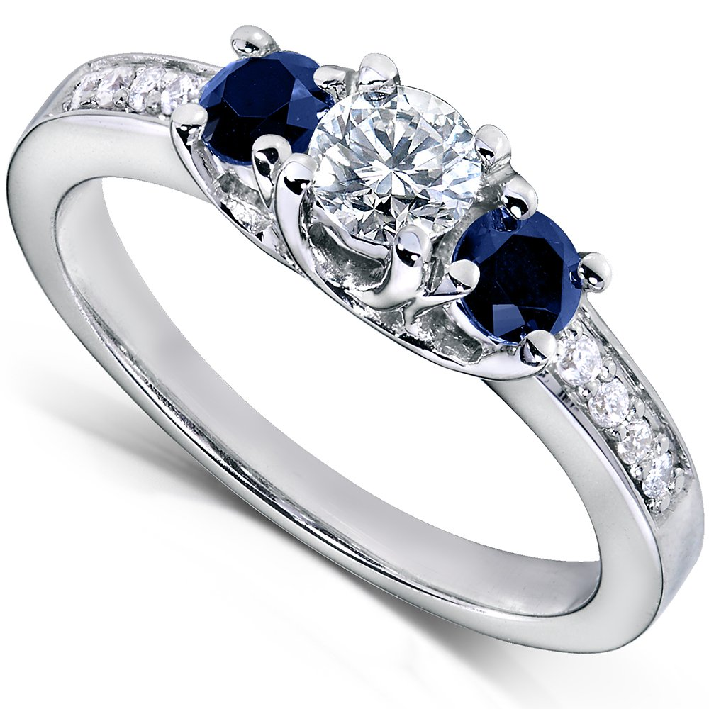 Blue Sapphire and Diamond Engagement Ring 3/5 Carat (ctw) in14k White Gold, Size 8