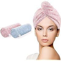 Ceephouge - Toalla de Microfibra para el Pelo, 2 Unidades, Secado instantáneo, turbantes para Mujeres y niñas…