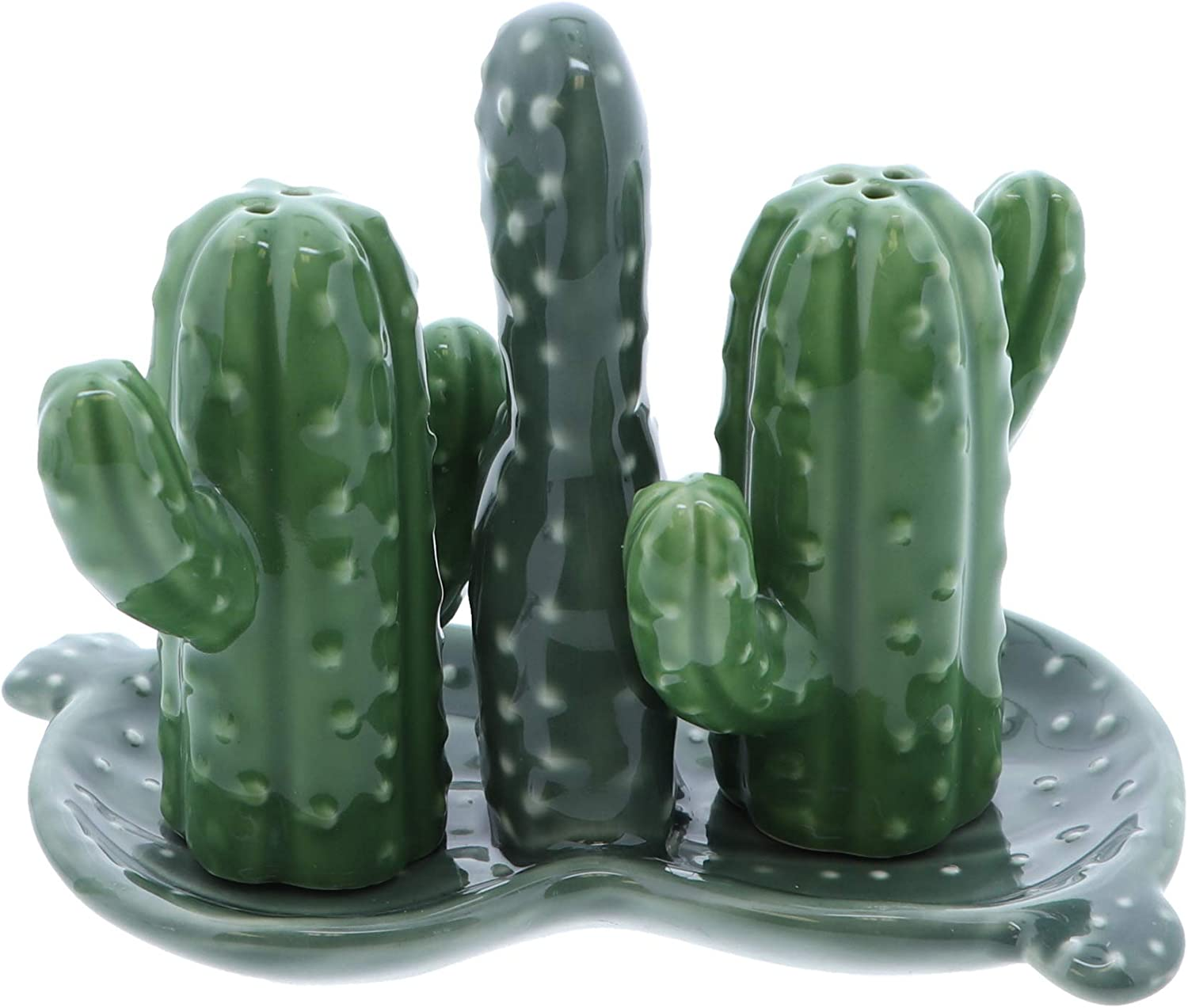 Ceramic Salt & Pepper Shakers Collectors Kitchen Décor with Tray - Cactus