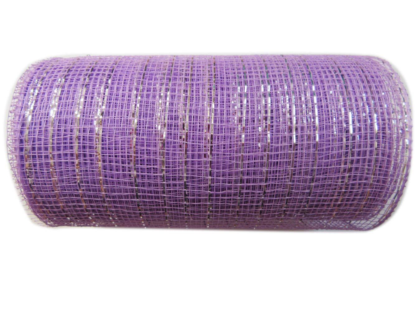 10 inch x 30 feet 10 Yards -YYCRAFT Metallic Deco Poly Mesh Ribbon Lavender