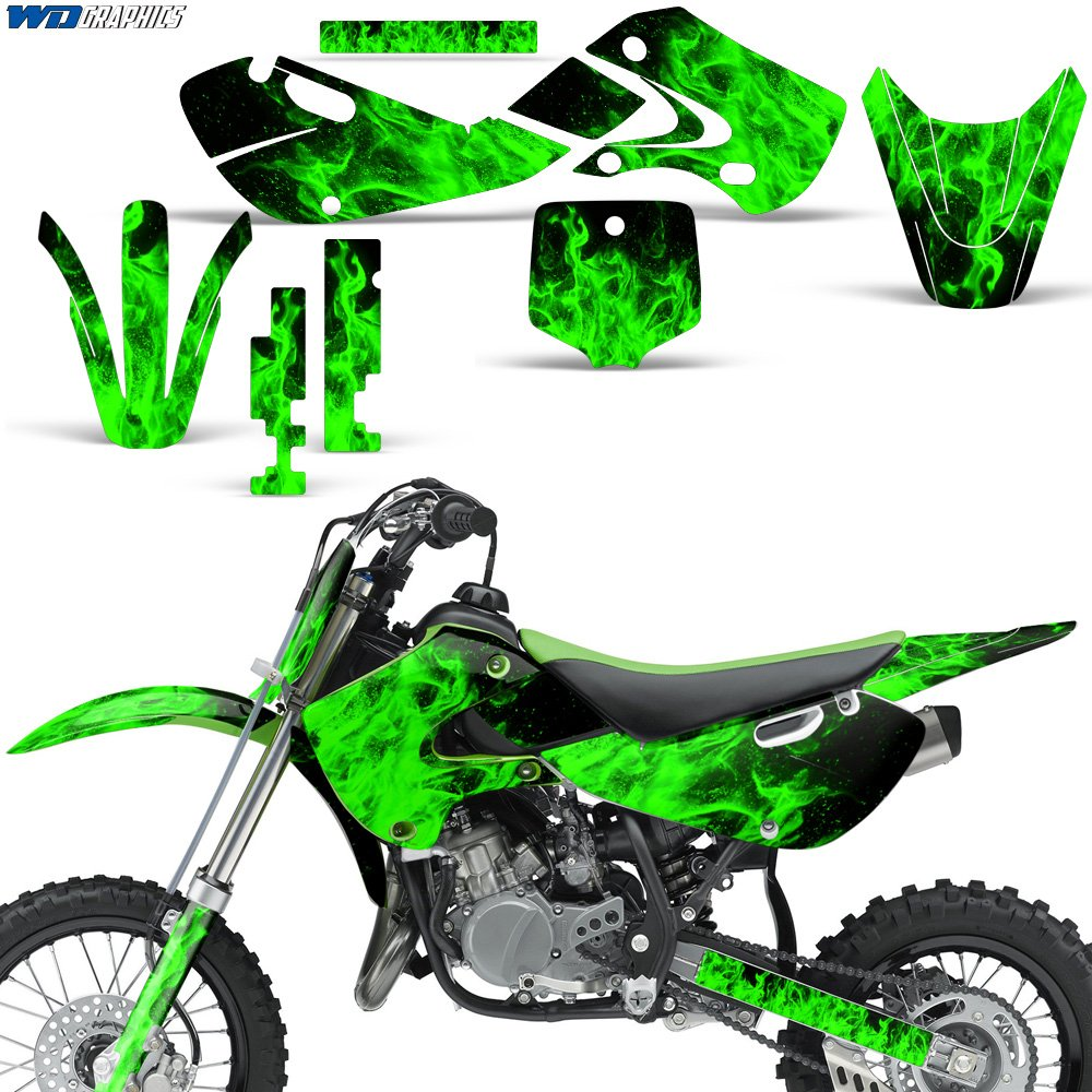 Kawasaki KLX110 KX65 2002-2009 Decal Graphics Kit for Dirt Bike MX Motocross FLAMES GREEN Wholesale Decals