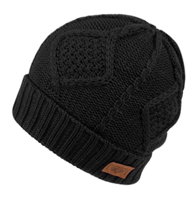 76d3df10a7e Beanie Hat For Men and Women Winter Warm Hats Knit Slouchy Thick Skull Cap ( Black