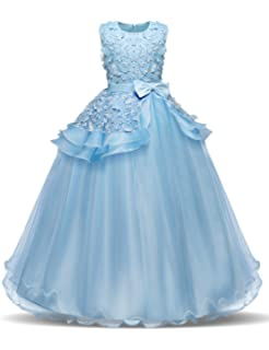 b36d458db4 NNJXD Girl Sleeveless Embroidery Princess Pageant Dresses Kids Prom Ball  Gown