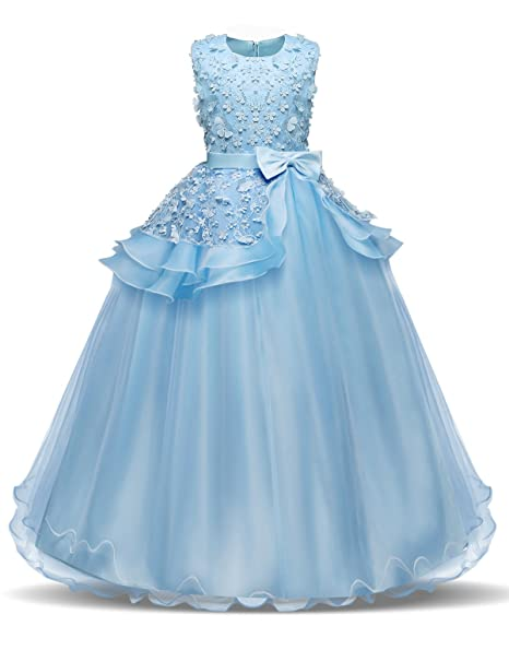 9f8687865f75 NNJXD Girls Sleeveless Embroidery Princess Pageant Dresses Prom Ball ...