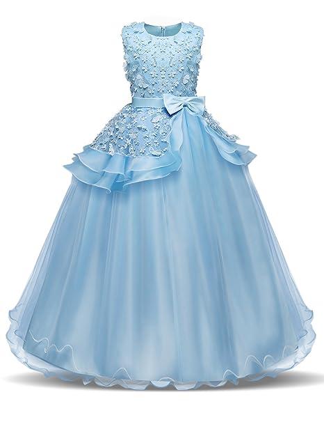 bd4d605ee NNJXD Vestido de Fiesta de Boda,Vestido de La Princesa de Las Niñas,Vestido  de Bautismo de Niña 5-14 Años