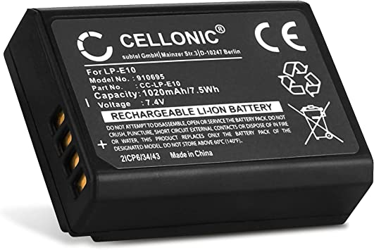 CELLONIC® Batería Premium Compatible con Canon EOS 1100D 1200D ...